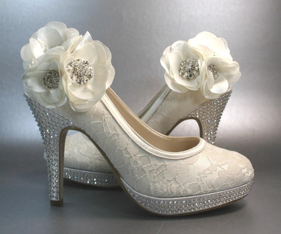 Wedding Heels With Rhinestones: Wedding Shoes Ivory Platform Heels With By DesignYourPedestal