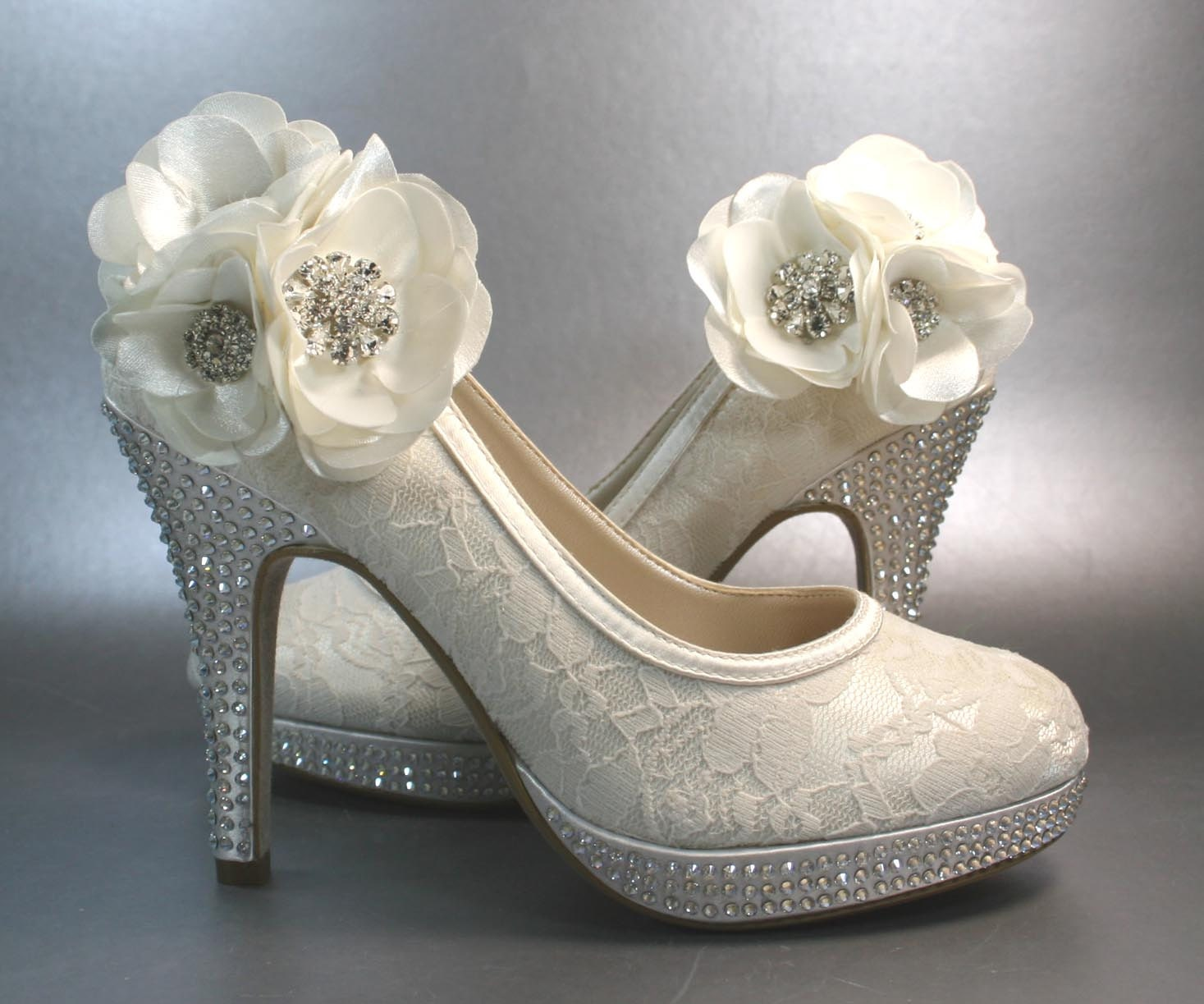 Bridal Shoes Silver: Wedding Shoes Ivory Platform Heels With By DesignYourPedestal