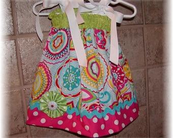 Girls Dress  Pillowcase style..Roto Flowers N Dots..Infant toddler Custom. sizes 0-6, 6-12, 12-18, 18-24 months, 2T, 3T