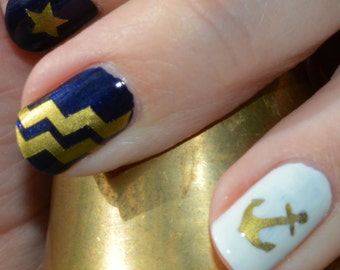 Anchors, Chevron Stripes & Stars Nail Decals Choice of Colors Gold, Mint, Silver, White, Red and More
