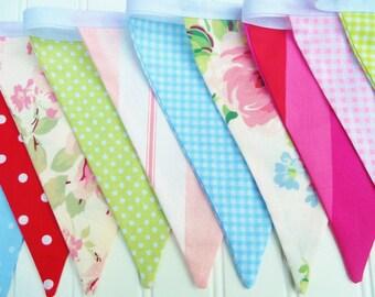 Red Pink Blue Bunting Fabric Flag Banner Pennants, Girl Birthday, Wedding, Baby Shower, Nursery Room Decor ,Designer's Choice