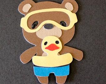 Teddy Bear Die Cut - SWIMMER RUBBER DUCKY float