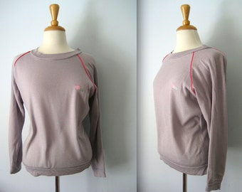 Vintage 80s grey with embroidered hearts windcheater - wind cheater - retro 1980s jumper - Medium