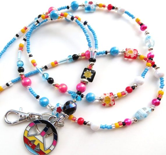 WILD FOR PEACE- Beaded Id Lanyard- Millefiore Beads and a Collection of Glass Beads (Magnetic Clasp)