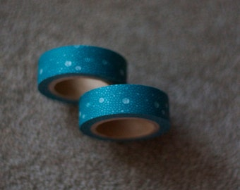 Japanese Washi Tape - Masking Tape roll in Teal  and White Multi Spots