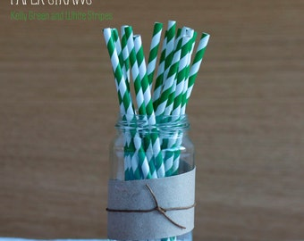 25 Kelly Green and White Striped Paper Straws - Standard 7.75'' / 19.68cm