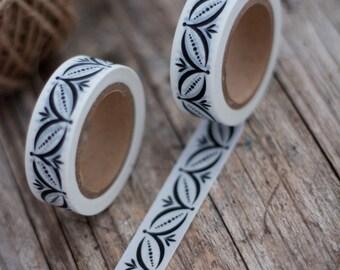 Japanese Washi Tape - Masking Tape Roll in Black Ornament Border Seamless Pattern Tape