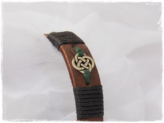 Celtic Leather Bracelet Men S Solf Leather Cuff Irish