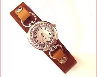women wrist watch leather brown wrap