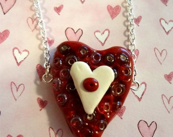 Beaded Heart Polymer Clay Necklace     On Sale was 20.00 now 15.00