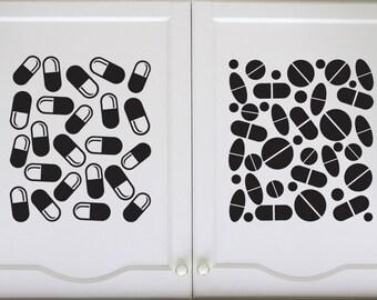 Medicine Pills, Caplets, RX, Pharmacy, Pills, Medication - Decal, Sticker, Vinyl, Wall, Home, Cabinet Decor