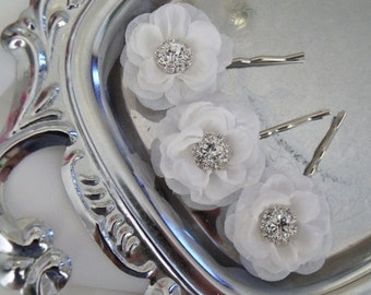 Weddin Bridal Hair Flowers Petite Roses - Garden - Set of 3 - Choose Pink, Navy, Lilac Red White - Rhinestone Center- Bobby Pins