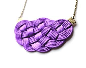Violet necklace, purple necklace, bib necklace, statement necklace, knot necklace, knotted necklace, nautical wedding, bridesmaid gift
