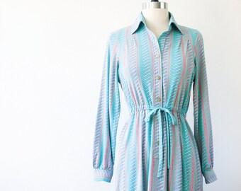 Japanese Vintage Dress S// 60s Dress// Sea foam Aquamarine Dress// Japan