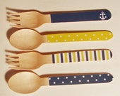 Nautical Navy & Yellow Wooden Forks, Spoons or Knives - Set of 20