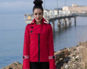 Selene Nautical Jacket - Button Sailor Front Flap with Zipper Closure, Large Cuffs, Exaggerated Collar, Red, White, Black, Fitted, Punk