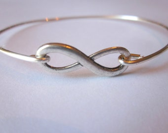 Silver Infinity Bangle Bracelet Silver Infinite Yours Stackable Bangle Charm Bracelet Valentine's Day Gift - Bridesmaid Gift - Gift under 1
