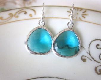 Sea Green Blue Earrings Silver - Bridesmaid Earrings - Bridal Earrings - Wedding Earrings - Bridesmaid Jewelry Gift