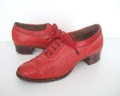 UK 3 Vintage 1940s red leather oxford shoes EU 36 US 5 B