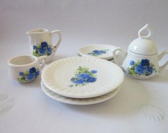 Vintage miniature tea set White set blue floral pattern