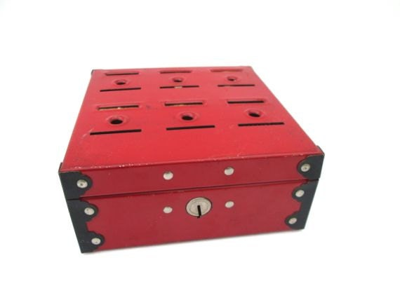 Vintage Red Metal Budget Box Bank Money Savings Container Industrial Storage