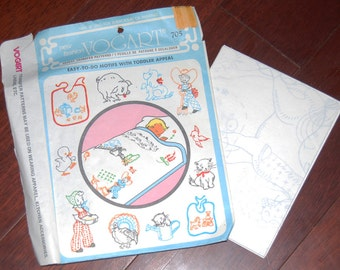 Vintage Vogart Transfer Patterns for Embroidery or Painting, Toddler appeal.
