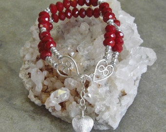 Chinese red beaded sterling silver double-strand bracelet