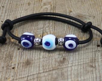 Adjustable Black Leather Bracelet Handmade Glass Evil Eye Beads