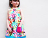 Girls Summer floral 60's dress