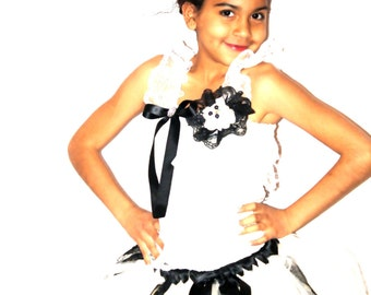 Beautiful  ivory and black tulle and lace petti dress set perfect for photograpy prop, birthday,weddings, flower girl dress