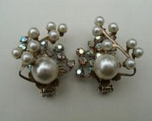 Reserved for Robbie - Vintage Beaujewels AB  Rhinestone and Faux Pearl Earrings - Beau Jewels Clip Style Earrings