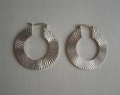 Vintage Sterling Silver Earrings with Patterned Hoops for Pierced Ears