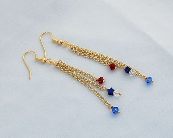 Red White Blue Swarovski Crystal Dangle Earrings