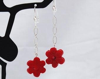 Red Coral Flower Drop Earrings, Handmade Designer Jewelry