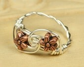 Wire Wrapped Ring- Sterling Silver Filled Wire with Two Copper Tone Flower Bead - Any Size - Size 4, 5, 6, 7, 8, 9, 10, 11, 12, 13, 14