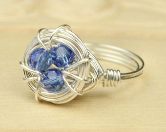 Birds Nest Birthstone Personalized Ring- Sterling Silver Filled Wire Wrap Ring- Size 4, 5, 6, 7, 8, 9, 10, 11, 12, 13, 14