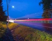 Photography Night headlights dusk - Time Warp - 8x12