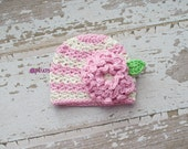 Pink and Linen Crocheted Hat 6-12 Months