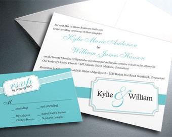 Wedding Invitation Card Suite Set - Printable PDF - Corner Monogram Ribbon - Personalized - Custom Colors