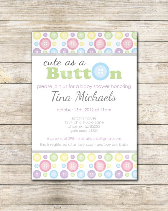 items similar to printable cute as a button baby shower invitation