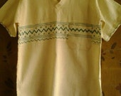 Cream cheesecloth / kaftan style embroidered hippie shirt