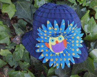 Toddler Summer Sun Hat, Who's Smart Owl Beach Hat, Blue Girl's Hat