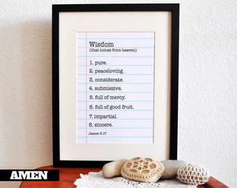 James 3:17. Wisdom is. 8x10. DIY. Printable Christian Poster. PDF. Bible Verse.