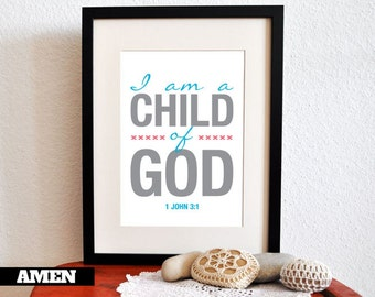 1 John 3:1. Child of God. Nursery Decor. 8x10in. DIY. Printable Christian Poster. Bible Verse.