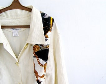 Mid Century Off White long sleeve Blouse With Belt, Woman Size XL, Mad Men Fashion, Spring, Autumn, Big Collar Shirt, Retro Tailored Top