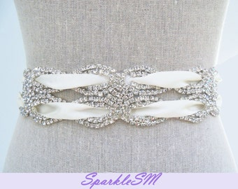 Rhinestone Sash, Rhinestone Belt, Bridal Sash, Bridal Belt, Jeweled Belt, Crystal Dress Sash, Swarovski Sash, Wedding Sash, Wedding Belt