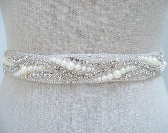 Pearl Bridal Sash, Pearl Bridal Belt, Jeweled Sash, Rhinestone Sash, Rhinestone Belt, Swarovski Sash, Bridal Dress Sash, Crystal Bridal Belt