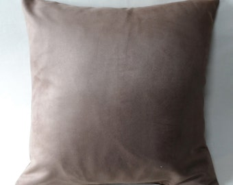 Stock Clearance. Handmade 17 inch cushion cover in chocolate brown. Faux suede.