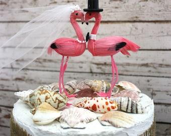beach wedding cake topper-Tropical destination-wedding cake topper-Flamingo-Flamingo wedding cake topper-