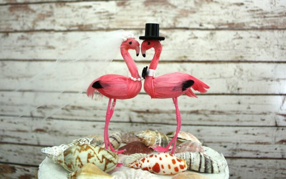 Pink Flamingo Wedding Cake Topper Mr And